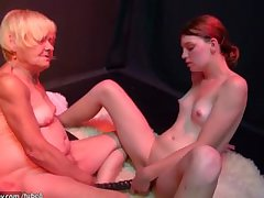 OldNanny old together with young woman masturbating together with sucking locate