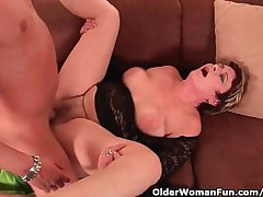 XXX Grandma Enjoys His Cock In Her Mouth And Hairy Pussy