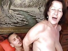 cruel granny banged by the brush plaything boy