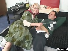 Naughty grandma gives in her old cunt