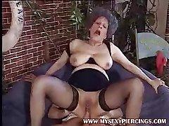 Pierced pussy MILF granny seductive bushwa round her asshole