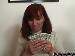 Granny plays strip poker spasmodically gets double dicked