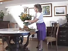 Fetching Granny Wearing Purple Girdle And Seamed Stockings