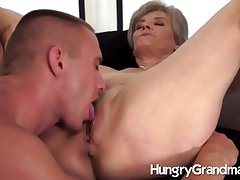 Hungry old pussy added to a hot hunk