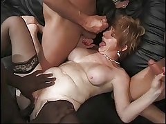 Granny Gets Gang Banged Hard by 4 Cocks