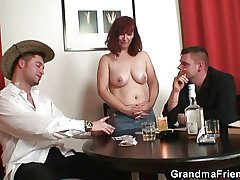 Poker bringing off granny is fucked by three guys