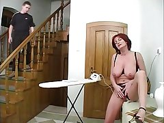 Mature housewife with the addition of young boy