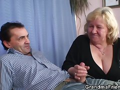 Busty granma roughly stockings takes twosome cocks