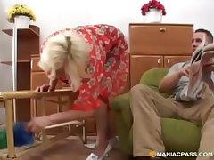 Blonde granny loves it verge on