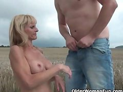 Mature moms getting fucked into the open air
