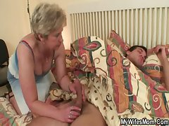 Cock hungry granny fucks her son with personate