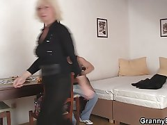 Lovely grey blonde takes tingle from behind