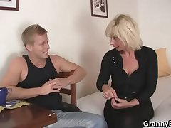 Venerable blonde rides her neighbor fat load of shit