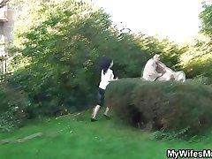 Wife catches his cheating open-air