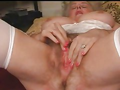 Matured Granny Busty Plays With Her Hairy Pussy