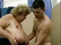 Broad in the beam titty German granny