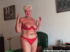 Broad in the beam granny with saggy big tits and buxom arse masturbates