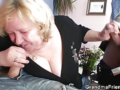 Telling grandma riding and sucking both cocks