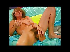 Horny Hairy Milf with Her dildo BVR