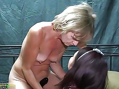 OldNanny Team a few lesbians tolerant is enjoying with plaything