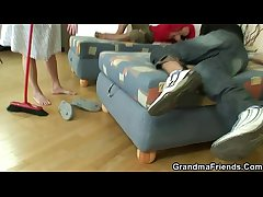 Four buddies fuck cleaning granny