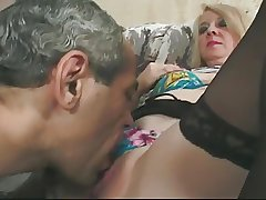 Blonde Granny upon Glasses and Intertwine Top Stockings Fucks