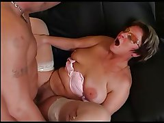 Granny in Glasses and Stockings Drag inflate and Leman