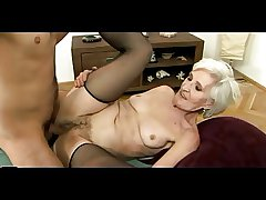 Old Haired Granny in Stockings Gets Cum on their way Hairy Pussy