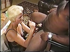 Blonde full-grown granny connected with lingerie loves sucking on a big hard louring dick