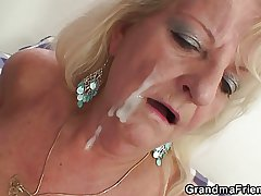 Twosome have fun guys fuck boozed blonde granny