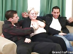 Granny is picked up added to double fucked