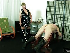Rub-down the Sadist Granny VI - face slapping, caning, whipping