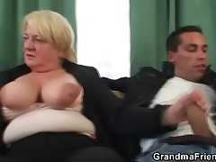 Trilogy orgy with granny
