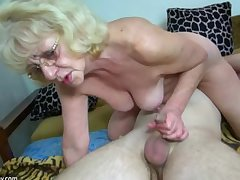 HOT Young scrounger screwing granny with strap-on