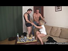 Horny blonde granny double deepness