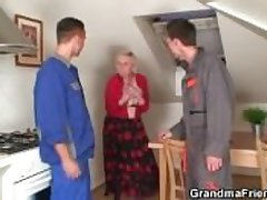 Two repairmen bang busty grandma immigrant both ends