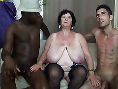 FRENCH BBW 65YO GRANNY OLGA FUCKED Away from 2 Admass - DP