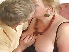 Large yellowish haired granny drilled by youthful dude