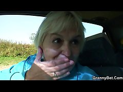 Granny gets screwed in the motor car