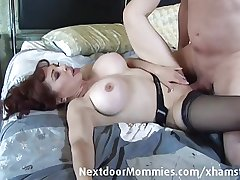 Nude guy fucks big breasted redhead
