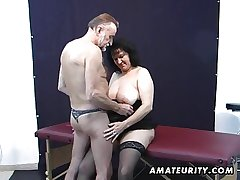 Age-old amateur couple home action relating to cum on tits
