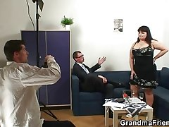 Old fatty takes two dicks damper photosession
