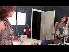American milfs Penny and Amanda adulate masturbating in nylon