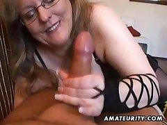 Lord it over amateur spliced handjob coupled alongside blowjob alongside cum at hand mouth