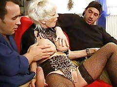 FRENCH Grown-up 27 anal blonde mom milf with 2 younger men