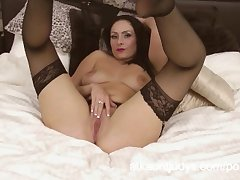 Sophia Delane is an X-rated MILF in say no to lingerie, rubbing say no to pussy