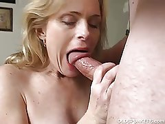 Very low-spirited mature babe loves a perilous facial cumshot