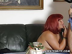 Redhead amateur Milf sucks cock in the air cum exceeding tits