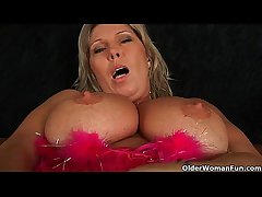 Fat matured mom with broad in the beam tits masturbates