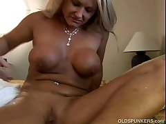 Thrilling grown-up blonde Roxy loves to fuck younger guys